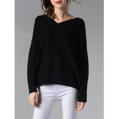 V-Neck Ribbed Solid Color Women's Sweater
