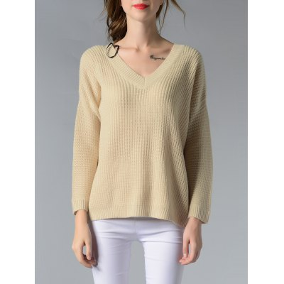 Trendy V-Neck Ribbed Solid Color Women's Sweater