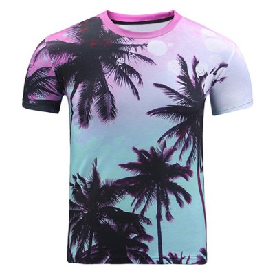 3D Ombre Trees Print Round Neck Short Sleeve T-Shirt For Men