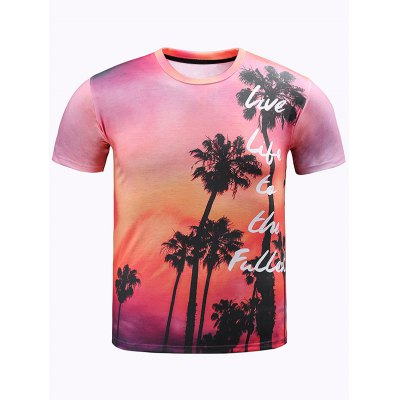 3D Ombre Trees and Letters Print Round Neck Short Sleeve T-Shirt For Men