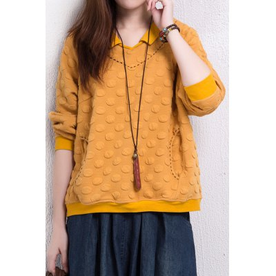 Stereo Dot Flat Collar Sweatshirt