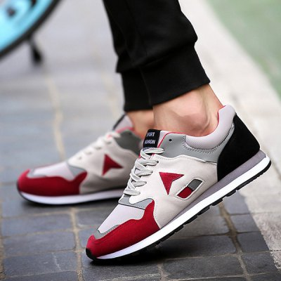 Trendy Color Splicing and Lace-Up Design Athletic Shoes For Men