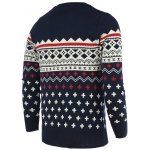 cheap Round Neck Color Block Geometric Print Long Sleeve Sweater For Men