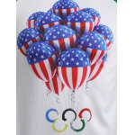 Olympic Balloon Print Round Neck Raglan Sleeve T-Shirt for sale