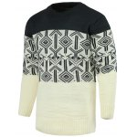 Round Neck Geometric Pattern Splicing Design Long Sleeve Sweater For Men