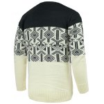 cheap Round Neck Geometric Pattern Splicing Design Long Sleeve Sweater For Men