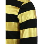 Fashion Round Neck Color Block Stripes Pattern Slimming Long Sleeves Sweatshirt For Men photo