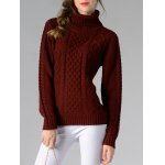 cheap Long Sleeve Turtle Neck Solid Color Sweater