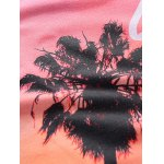 3D Ombre Trees and Letters Print Round Neck Short Sleeve T-Shirt For Men for sale