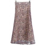 Fashion Printed Pleated Lace Midi Skirt For Women