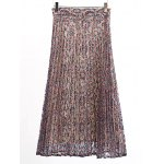 cheap Fashion Printed Pleated Lace Midi Skirt For Women
