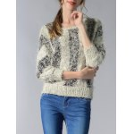 cheap Trendy 3/4 Sleeve Hit Color Fluff Women's Sweater
