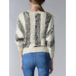 Trendy 3/4 Sleeve Hit Color Fluff Women's Sweater for sale