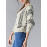 Trendy 3/4 Sleeve Hit Color Fluff Women's Sweater deal
