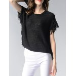 cheap Charming Round Neck Fringed Solid Color Women's Knitwear