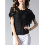 Charming Round Neck Fringed Solid Color Women's Knitwear