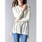 Long Sleeve V-Neck Striped High Low Sweater deal