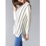best Long Sleeve V-Neck Striped High Low Sweater
