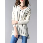 cheap Long Sleeve V-Neck Striped High Low Sweater
