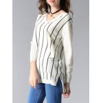 Long Sleeve V-Neck Striped High Low Sweater for sale