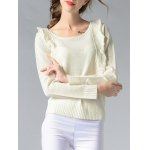 Chic Scoop Neck Spliced Ribbed Solid Color Women's Sweater deal