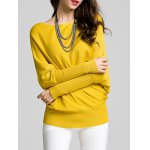 Round Neck Bat Sleeve Solid Color Sweater deal