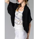 cheap Trendy Collarless Button Design Solid Color Women's Cardigan