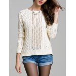 cheap Long Sleeve Hollow Out Solid Color Sweater