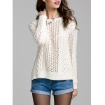 Long Sleeve Hollow Out Solid Color Sweater deal
