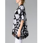 Chic Batwing Sleeve Geometric Pattern Fringed Women's Cardigan deal