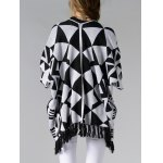 Chic Batwing Sleeve Geometric Pattern Fringed Women's Cardigan for sale
