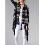 Trendy Collarless Asymmetrical Fringed Women's Cardigan deal