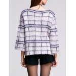 3/4 Sleeve Round Neck Women's Plaid Sweater for sale