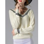Stylish V-Neck Long Sleeve Hit Color Women's Sweater
