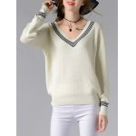 cheap Stylish V-Neck Long Sleeve Hit Color Women's Sweater