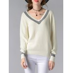 Stylish V-Neck Long Sleeve Hit Color Women's Sweater deal