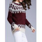 cheap Long Sleeve Round Neck Patterned Sweater