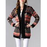 Collarless Long Sleeve Tribal Jacquard Cardigan