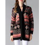 cheap Collarless Long Sleeve Tribal Jacquard Cardigan