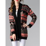 Collarless Long Sleeve Tribal Jacquard Cardigan deal