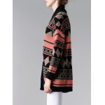 Collarless Long Sleeve Tribal Jacquard Cardigan for sale