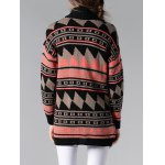 best Collarless Long Sleeve Tribal Jacquard Cardigan