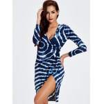 cheap Plunge Printed Long Sleeve Night Out Dress