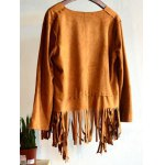 cheap Fashion Long Sleeve Tassels Suede Coat For Women