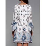 cheap Plunging Neck Flare Sleeve Tribal Print Dress