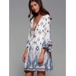 Plunging Neck Flare Sleeve Tribal Print Dress deal