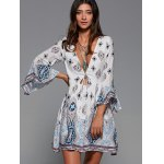Plunging Neck Flare Sleeve Tribal Print Dress for sale