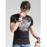 Wings Print Round Neck Short Sleeve T-Shirt For Men deal