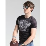 Wings Print Round Neck Short Sleeve T-Shirt For Men for sale