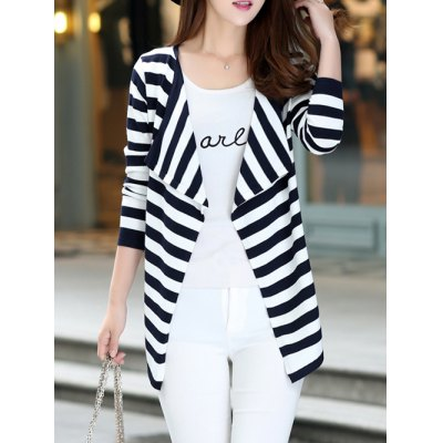 Long Sleeve Striped Thin Cardigan